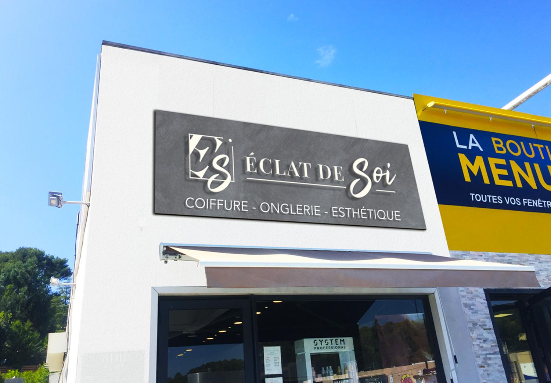 Devanture enseigne salon de coiffure Eclat de soi Marseille