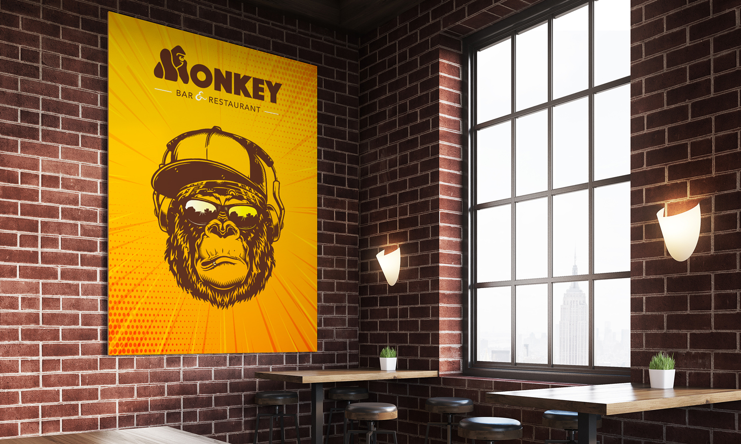 Poster Monkey Bar Jaune