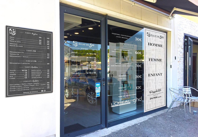 Devanture magasin salon de coiffure Eclat de soi Marseille