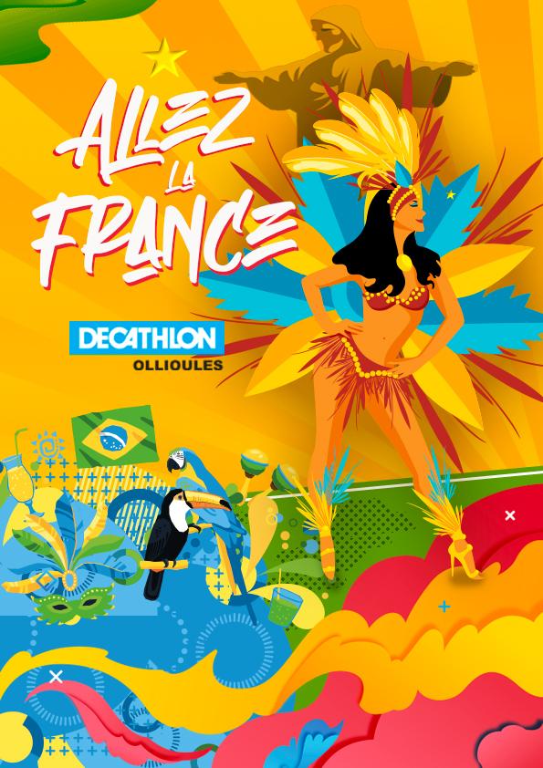 Affiche Decathlon Ollioules Danceuse Coupe du monde 2014