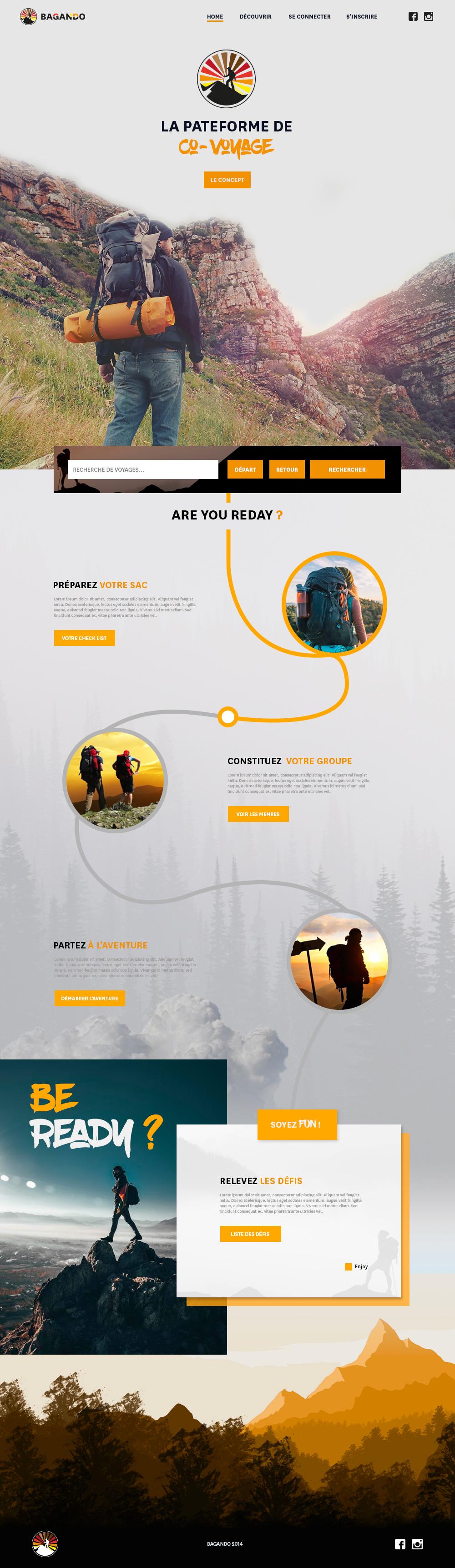 Webdesign plateforme de co-voyage bagando