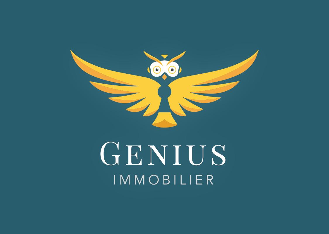 logo genius immobilier fond bleu