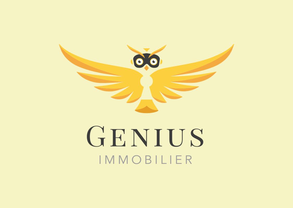 logo genius immobilier fond jaune