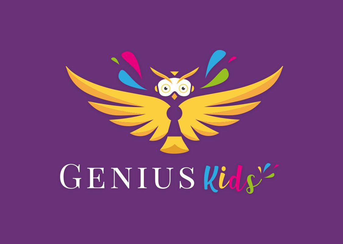 logo genius kids fond violet