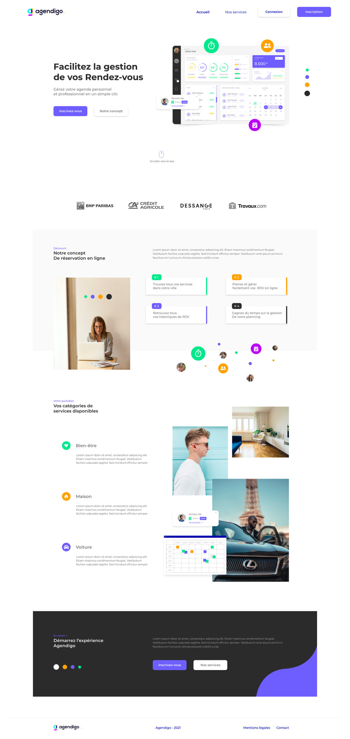 Home page webdesign Agendigo